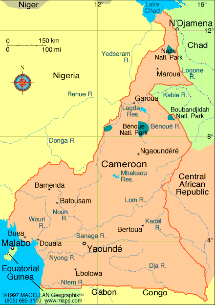 Map of the Republic of Cameroon