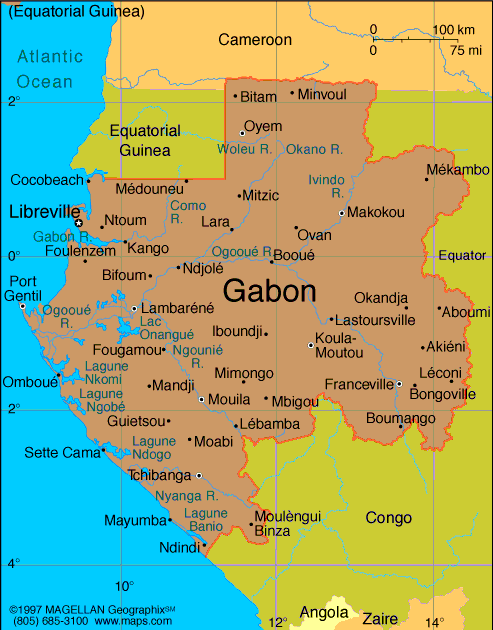 maps of gabon. [Map of Gabon]
