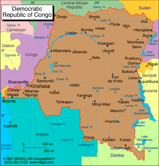 Political Map Of The Democratic Republic Of The Congo - Democratic republic congo map