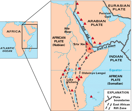 Map Of East Africa Showing Tectonic Plates - Plates map