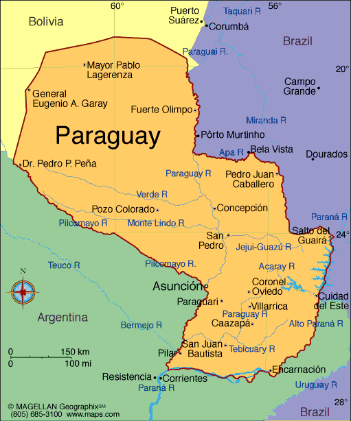 physical maps of paraguay. map of Paraguay]