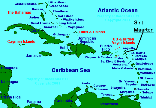 Map Of The Caribbean - Map of the carribean