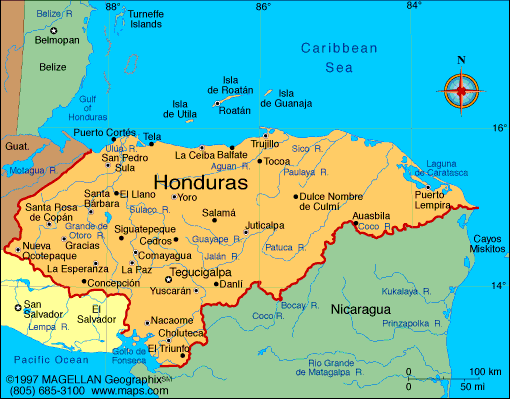 Map Of Honduras - Hondurus map