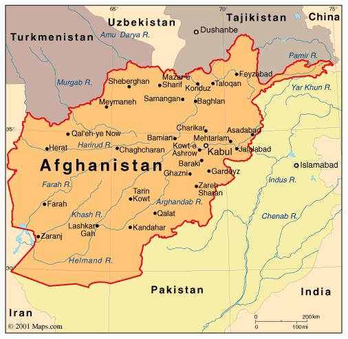 Political Map Of Afghanistan - Afghanistan political map