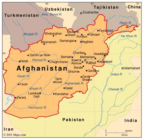 Political Map Of Afghanistan - Charikar map
