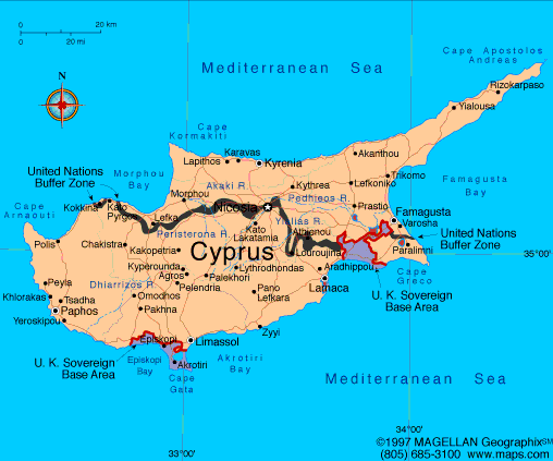 Map of the Republic of Cyprus