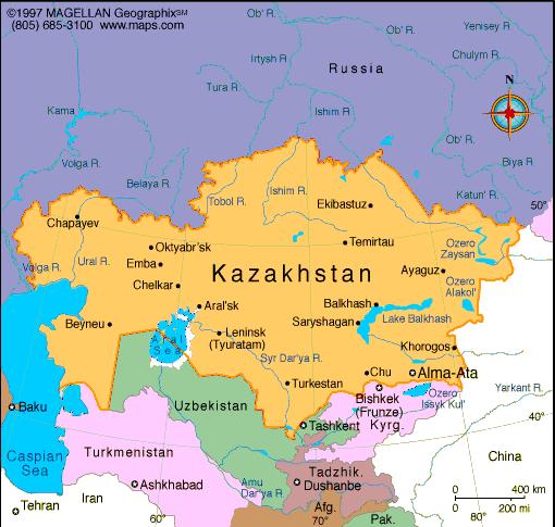 Map of Qazaqstan