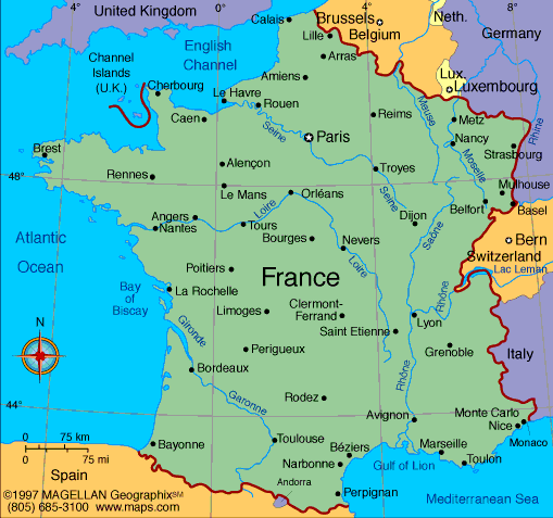 Map Of France In French.Map Of The French Republic