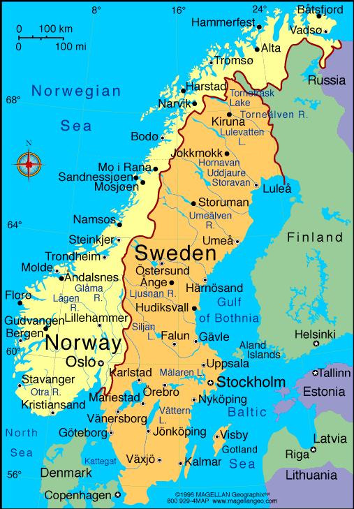 Map Of The Kingdom Of Sweden - Sweden map images