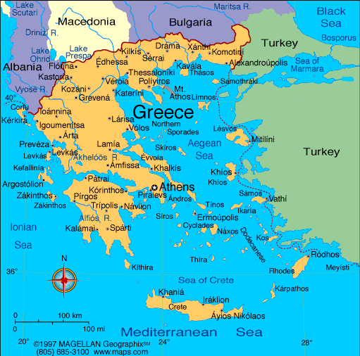 Map of the Hellenic Republic Greece
