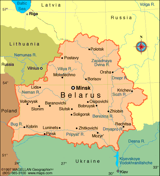 Map of the Republic of Belarus