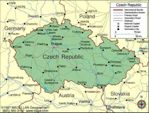 Map of the Czech Republic